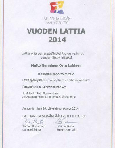 Vuoden Lattia 2014 kunniakirja - Matto Nurminen